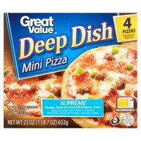 Great Value Supreme Pizza, Deep Dish, Mini, 23 oz, 4 Count