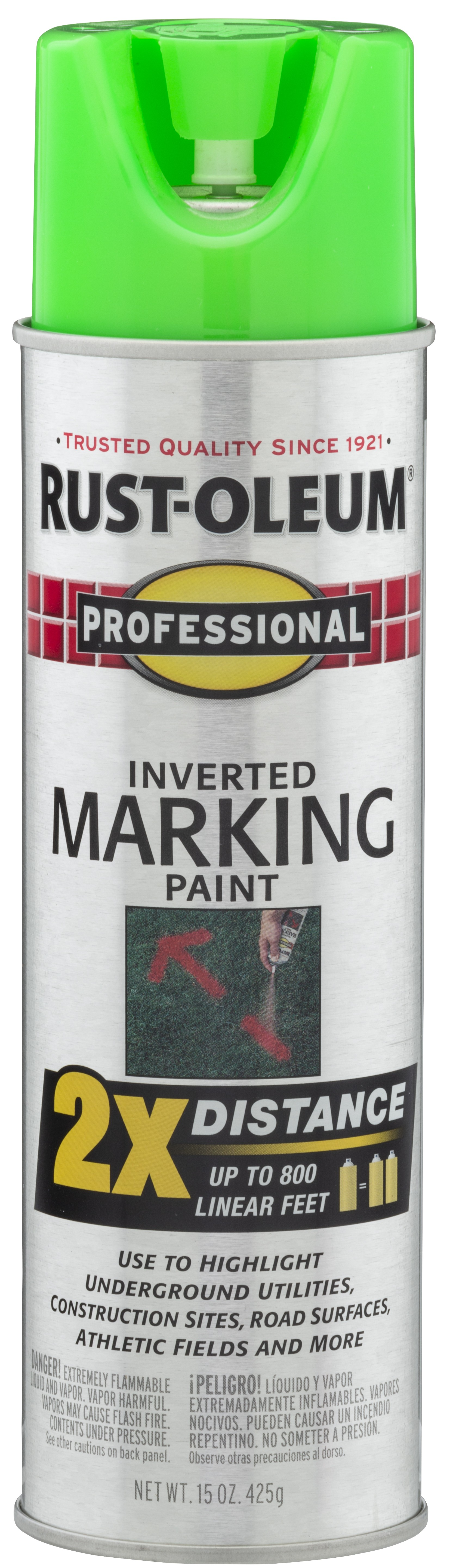 (3 Pack) Rust-Oleum Professional Fluorescent Green Inverted Marking Spray Paint, 15 oz