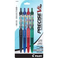 Pilot Precise V5 RT Premium Rolling Ball Pens, Extra Fine Point, Assorted Barrels, Assorted Inks, 4/Pack