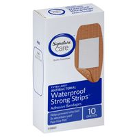 Signature Care Bandages, Adhesive, Strong Strips, Antibacterial, Waterproof, Extra Large