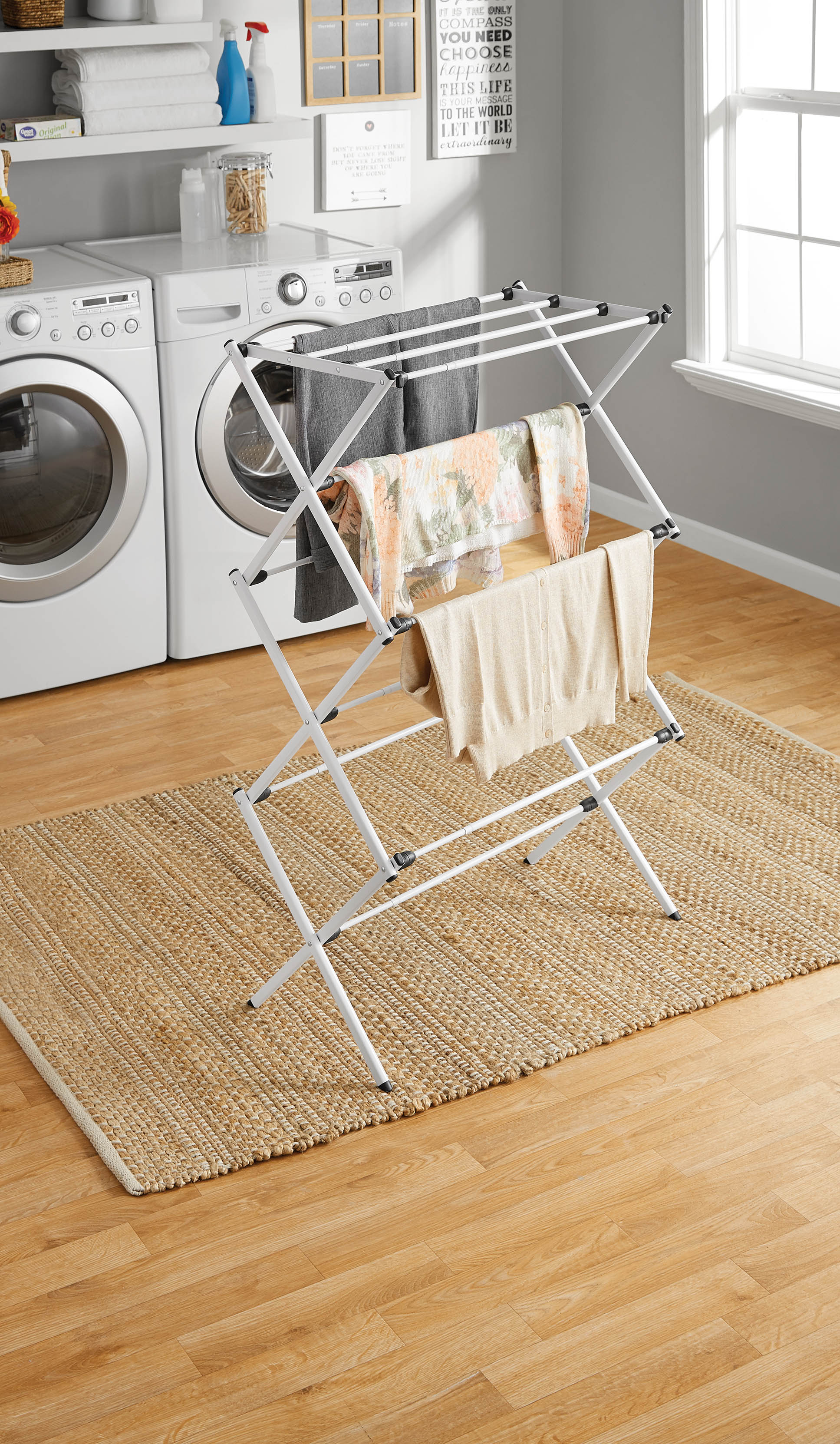 Mainstays Expandable Steel Laundry Drying Rack, White