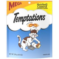 (2 Pack) TEMPTATIONS Hairball Control Treats for Cats, Chicken Flavor, 4.9 oz. Pouch