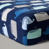 Fitted Crib Sheet Whales - Cloud Island™ Navy