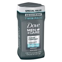 Dove Men+Care Clean Comfort Deodorant Stick, 3.0 oz, Twin Pack