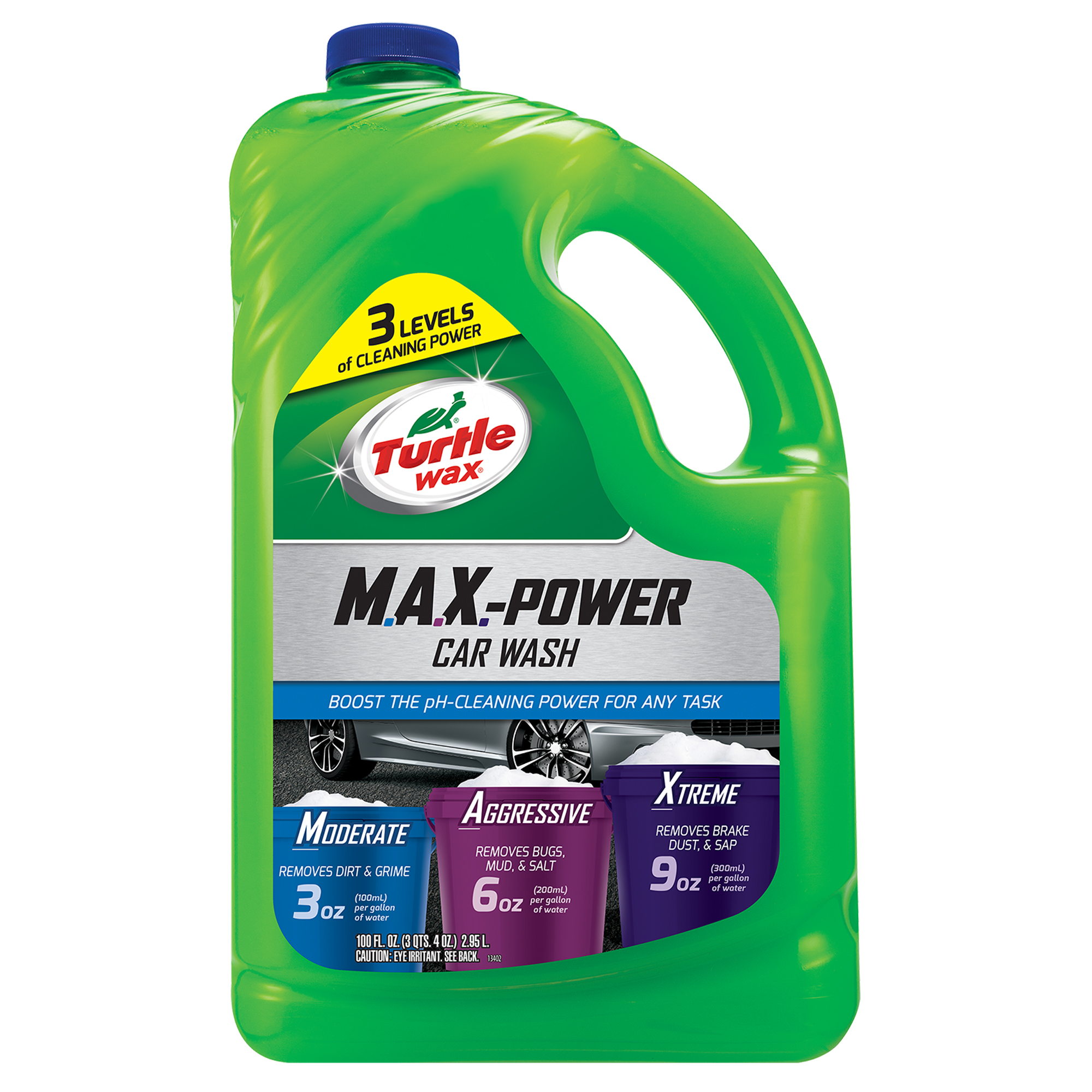Turtle Wax 50597 Max-Power 3 Levels of Cleaning Car Wash, 100 oz