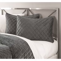 Mainstays Soft Plush Mink Velvet Quilt Collection, Single Standard Sham, Gray