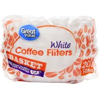 Great Value Basket Coffee Filters, 1-4 Cup, 200 Count
