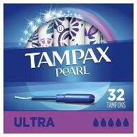 Tampax Pearl Tampons Ultra Absorbency with LeakGuard Braid - Unscented- 32ct