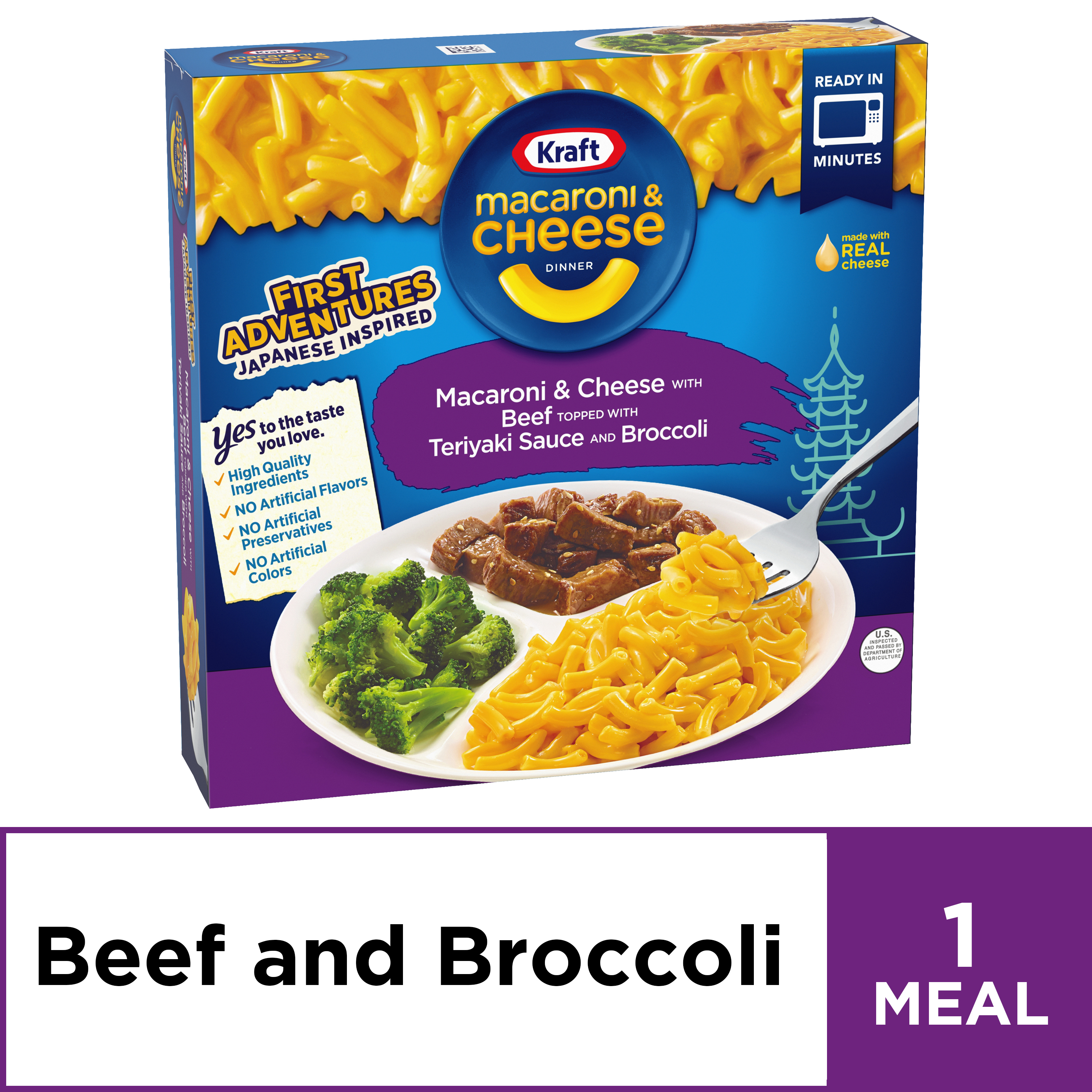 Kraft Mac And Cheese First Adventures Teriyaki Beef Broccoli Frozen Dinner 8 5 Oz Box From Walmart In Dallas Tx Burpy Com