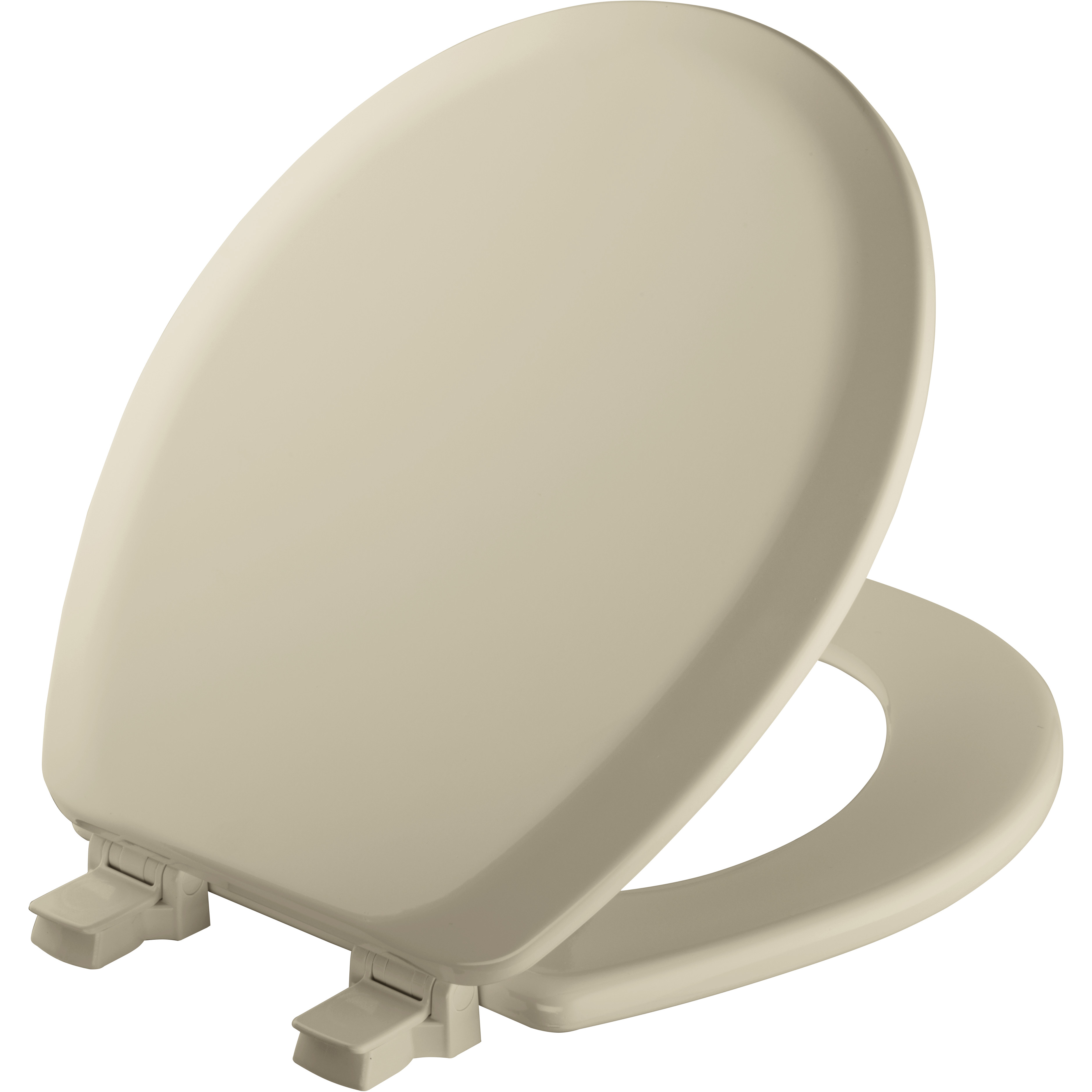 Mayfair Lift Off Round Enameled Wood Toilet Seat in Bone with STA-TITE