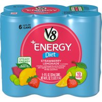 V8 +Energy, Healthy Energy Drink, Natural Energy from Tea, Diet Strawberry Lemonade, 8 Ounce Can, (Pack of 6)