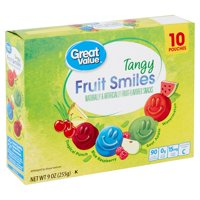 Great Value Tangy Fruit Smiles Snacks 9 Oz.