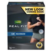 Depend Real Fit Incontinence Underwear for Men, Maximum Absorbency, S/M, Black & Grey, 14 Count
