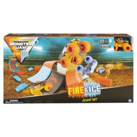 Monster Jam, Fire & Ice Stunt Set Featuring Four 1:64 Scale Die-Cast Monster Trucks