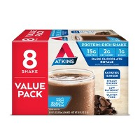 Atkins High Protein Shake - Dark Chocolate Royale - 8ct