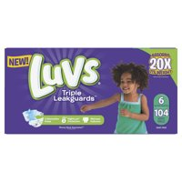 Luvs Triple Leakguards Diapers Size 6 104 Count