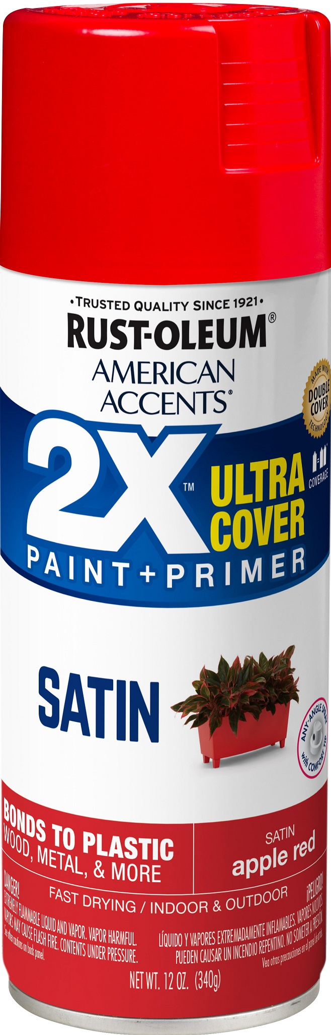 (3 Pack) Rust-Oleum American Accents Ultra Cover 2X Satin Apple Red Spray Paint and Primer in 1, 12 oz