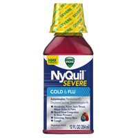 Vicks NyQuil SEVERE Cough Cold and Flu Nighttime Relief Berry Flavor Liquid, 12 Fl Oz - Relieves Nighttime Sore Throat, Fever, and Congestion