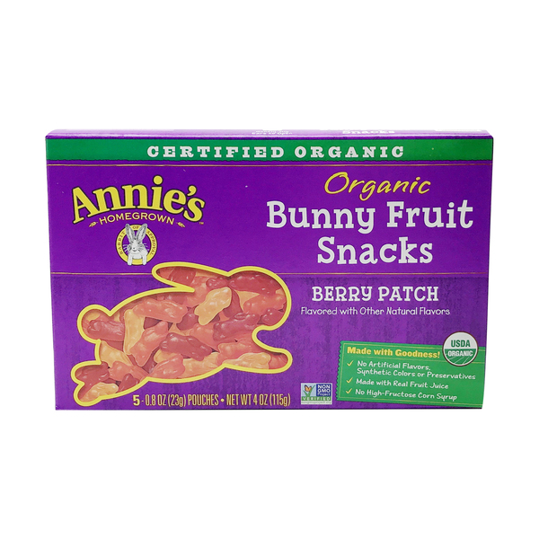 Annie's homegrown Organic Berry Patch Bunny Fruit Snacks, 4 oz