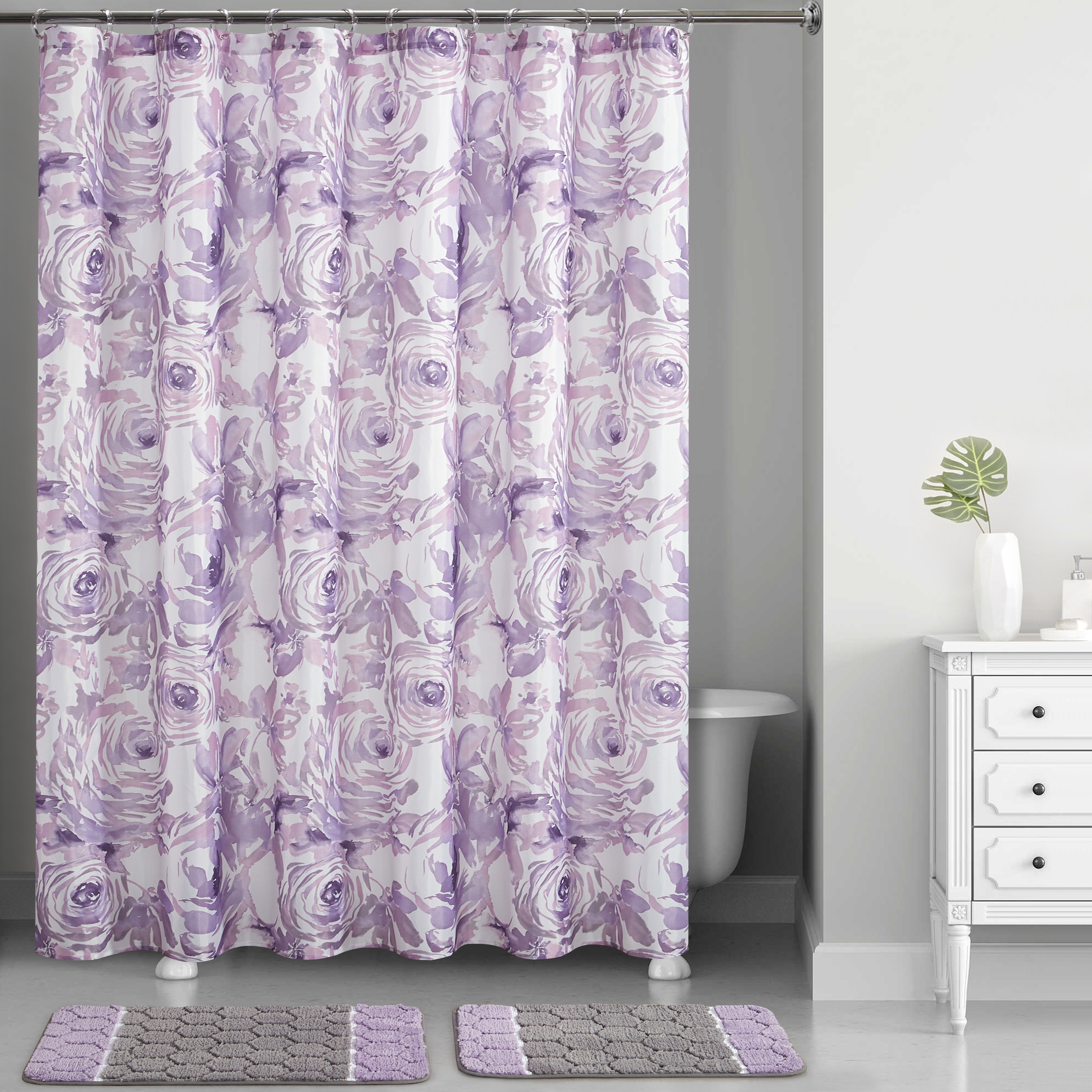 Mainstays Lavender Floral Watercolor Printed 15 Piece Shower Curtain Set