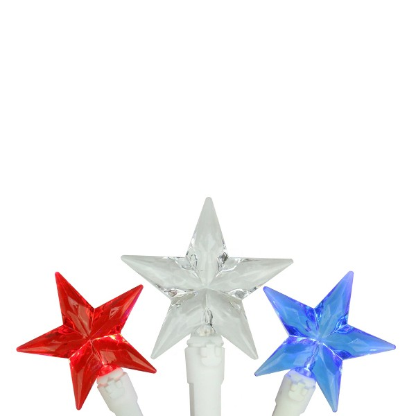 Northlight 30-Count Red and Blue LED Patriotic Star Fourth of July String Light Set, 7ft White Wire