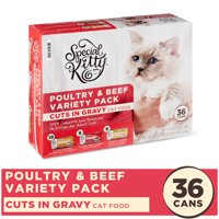 Special Kitty Poultry & Beef Variety Pack Cuts in Gravy Wet Cat Food, 5.5 oz, 36 Count