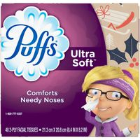Puffs Ultra Soft Facial Tissue, 1 Cube, 48 Tissues per Cube