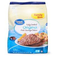 Great Value Fully Cooked Original Pork Sausage Patties Family Size, 35.6 oz