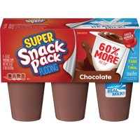 Super Snack Pack Chocolate Pudding Cups, 6 Count