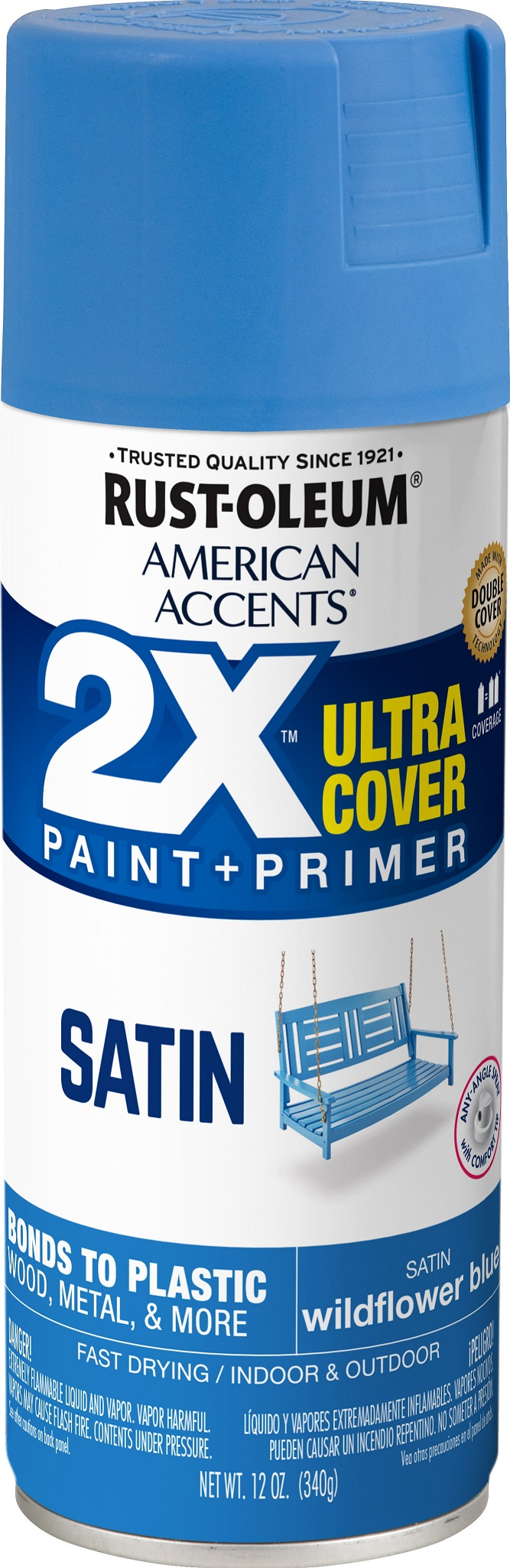 (3 Pack) Rust-Oleum American Accents Ultra Cover 2X Satin Wildflower Spray Paint and Primer in 1, 12 oz