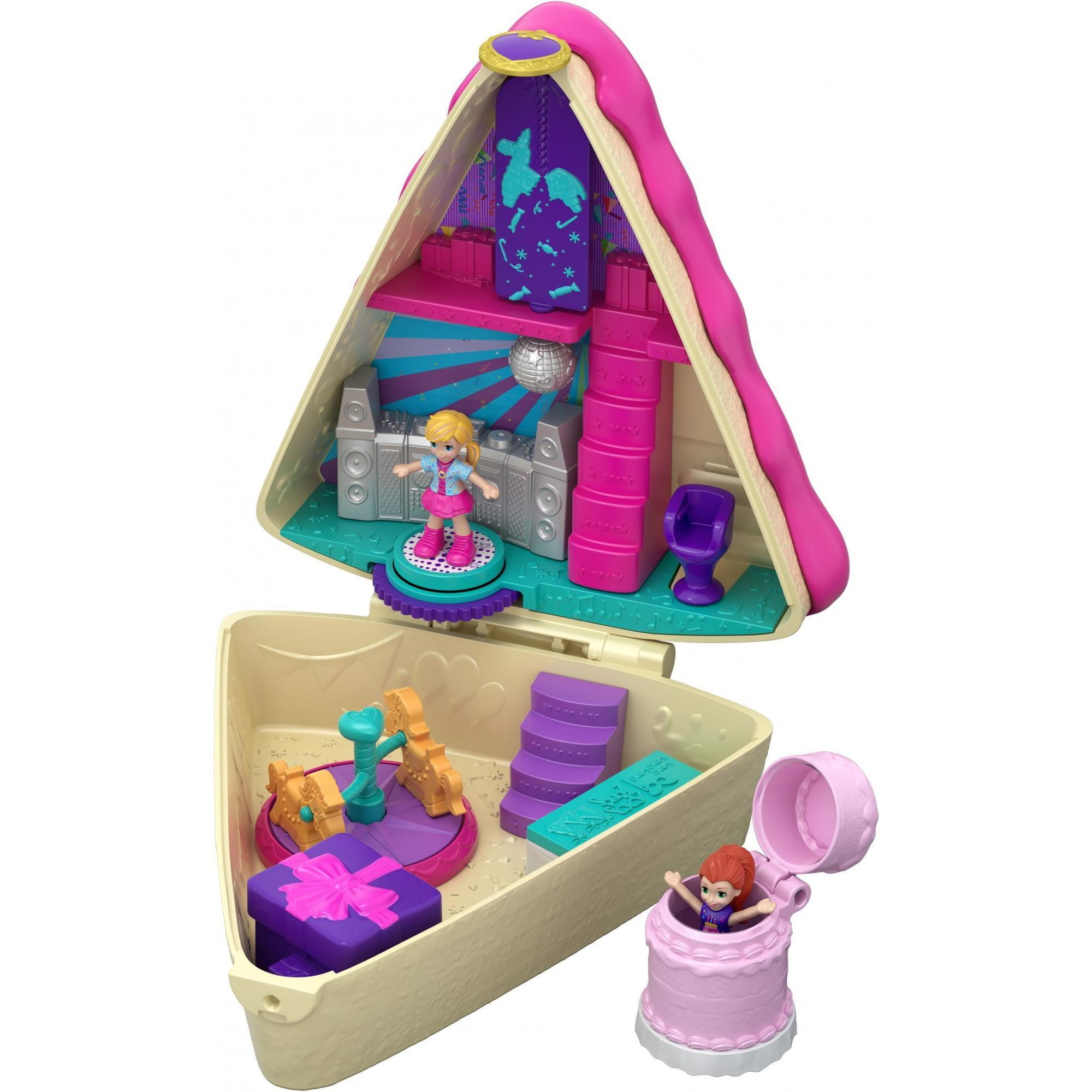 Admirable Polly Pocket Birthday Cake Bash Compact With 2 Dolls Accessories Funny Birthday Cards Online Elaedamsfinfo
