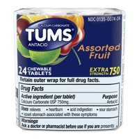 TUMS Antacid Chewable Tablers for Heartburn Relief, Extra Strength, Assorted Fruit, 3-Rolls of 8 Tablets