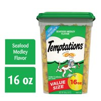 TEMPTATIONS Classic Crunchy and Soft Cat Treats Seafood Medley Flavor, 16 oz. Tub