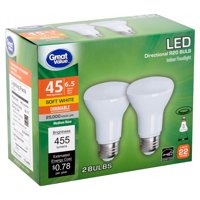 Great Value LED 6.5 Watts Directional R20 Soft White Medium Base Bulbs, 2 count