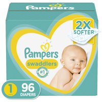 Pampers Swaddlers Soft and Absorbent Newborn Diapers, Size 1, 96 Ct