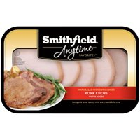 Smithfield Anytime Favorites Naturally Hickory Smoked Pork Chops, Bone In, Fully Cooked, 0.9-1.64 lb