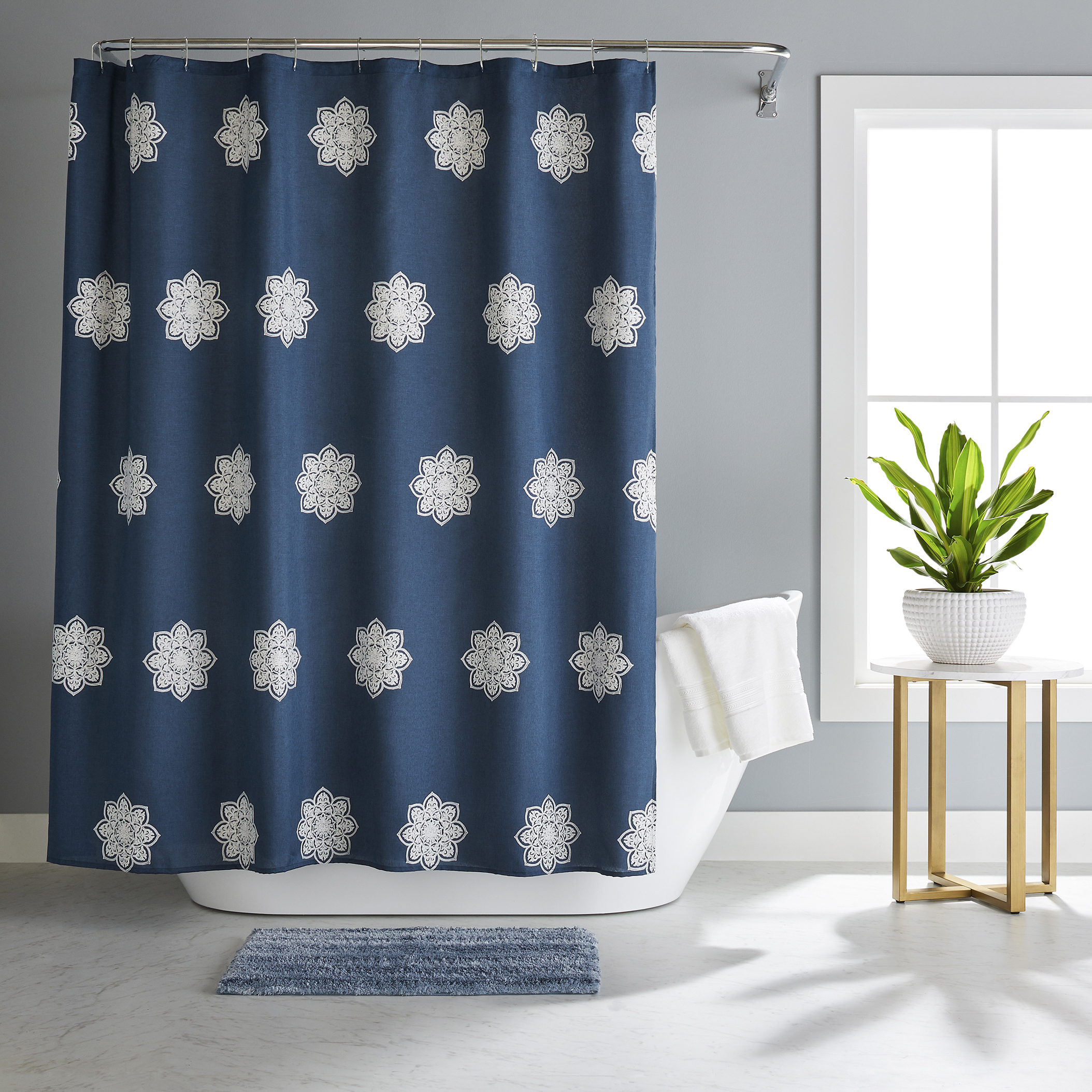Better Homes and Gardens Embroidered Medallion 14 Piece Shower Curtain Set