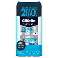 Gillette Undefeated Clear Gel Men's Antiperspirant & Deodorant Twin - 7.6oz