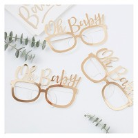 "8ct ""Oh Baby"" Party Glasses Rose Gold"
