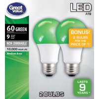 Great Value LED Light Bulb, 9W (60W Equivalent) A19 Lamp E26 Medium Base, Non-Dimmable, Green, 2-Pack