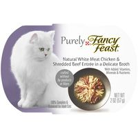 Fancy Feast Natural Broth Wet Cat Food, Purely Natural White Meat Chicken & Shredded Beef Entrée