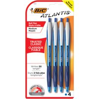 BIC Atlantis Original Retractable Ballpoint Pen, Medium Point (1.0mm), Blue, 4 Count