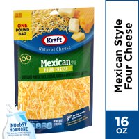 Kraft Mexican Style Four Cheese Blend Shredded Cheese, 16 oz Bag