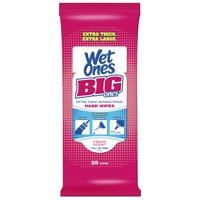 Wet Ones Big Ones Antibacterial Hand Wipes Travel Pack, Fresh, 28 Ct