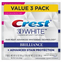 Crest 3D White Brilliance + Advanced Stain Protection Premium Vibrant Peppermint Toothpaste