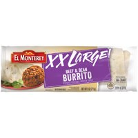 El Monterey XX Large Beef and Bean Burrito, Authentic Mexican Recipe Frozen Single-Serve Burrito, 9 oz.