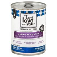 """I and love and you."" Ultimate Wet Food Gobble it Up Stew Natural Dog Food"