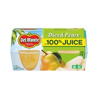 Del Monte Diced Pears In Light Syrup Fruit Cups 4pk - 4oz
