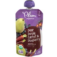 Plum Organics Stage 2 Organic Baby Food, Pear, Purple Carrot & Blueberry, 4 Ounce Pouch