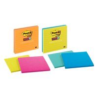 Post-it Super Sticky Notes, 4 in. x 4 in., Assorted Bright Colors, Lined, 3 Pads/Pack, 45 Sheets/Pad